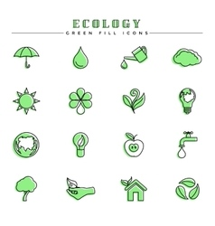 Ecology green fill icons set vector image