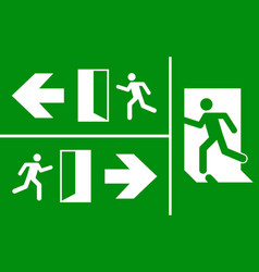 emergency fire exit sign evacuation fire escape vector image