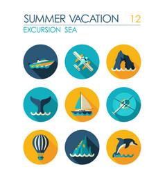 Excursion sea flat icon set summer vacation vector