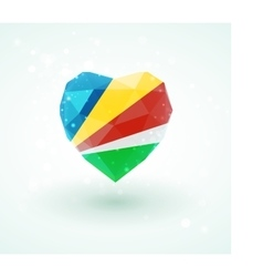 Flag of Seychelles in shape diamond glass heart vector image