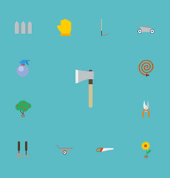 flat icons lawn mower axe green wood and other vector image