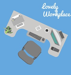 Flat office workplace in eps vector image