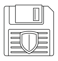 floppy disk protected icon outline style vector image