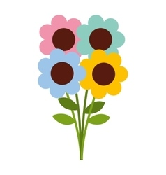 Flowers bouquet isolated icon design vector