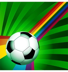 Football over a curved rainbow on green background vector