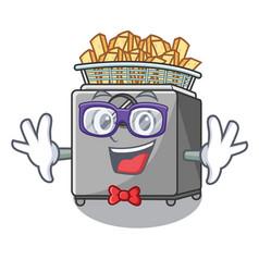 Geek character deep fryer on restaurant kitchen vector