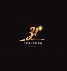Gold alphabet letter zr z r logo combination icon vector