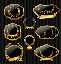 golden labels and laurel wreath collection vector image