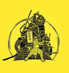 Group samurai warrior ronin with weapon vector