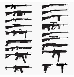 guns 4 silhouettes vector image
