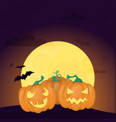 halloween background night forest with moon vector image