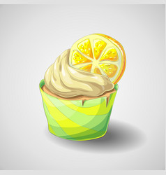 hand draw citrus cupcake vector image