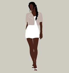 Hand drawn minimalistic girl creative artwork vector