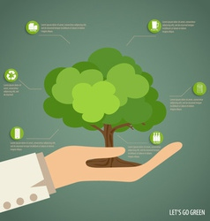 Hand holding Tree vector image