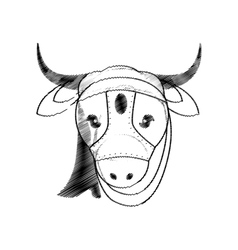 Head indian sacred cow vector