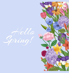 hello spring floral background with flower bouquet vector image