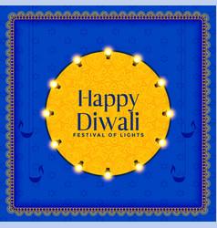Hindu diwali festival celebration card design vector