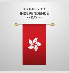 Hongkong independence day hanging flag background vector