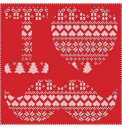 I love hipster nordic pattern on red background vector