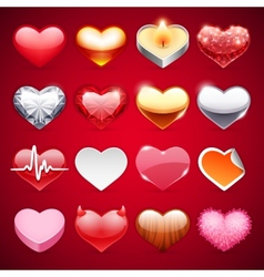 Icons Hearts Set vector image