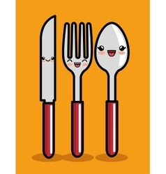kawaii knife spoon and fork icon design vector image vector image