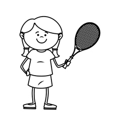 Kid tennis sport player icon vector