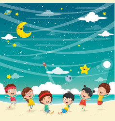 kids playing at beach vector image