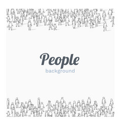 Large group people on white background outline vector