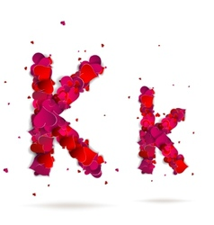 Letter k made from hearts Love alphabet vector