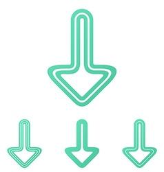 Line down arrow logo design set vector