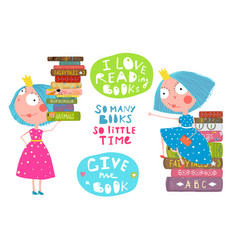 little girls love reading books quotes vector image