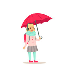 Lovely school girl with backpack standing with vector