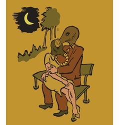 Man and woman sitting on a bench in gas masks vector