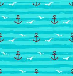 Marine pattern seamless anchors gull icons and vector