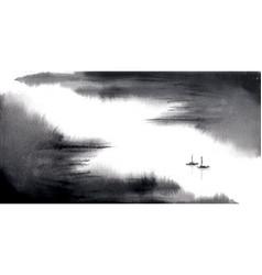 Minimalist ink wash painting landscape vector