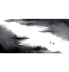 Minimalist ink wash painting landscape with vector