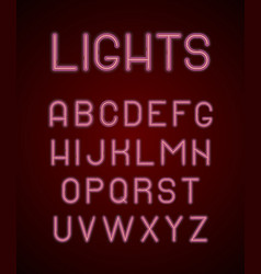 neon colored alphabet letters glowing 3d lamp vector image