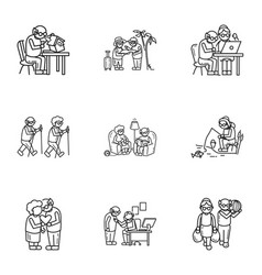 older person recreation icon set outline style vector image