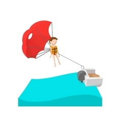 Parasailing cartoon icon vector image