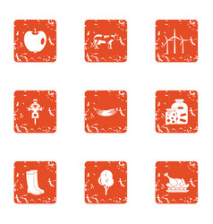 Peasant icons set grunge style vector