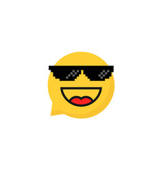 pixelart glasses on laughing emoji bubble vector image