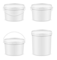plastic bucket for paint 04 vector image