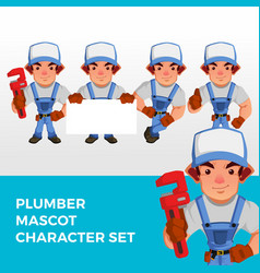 plumber mascot character set logo icon vector image