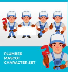 Plumber mascot character set logo icon vector