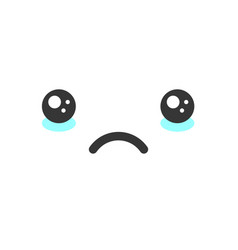 Sad crying kawaii cute emotion face emoticon vector
