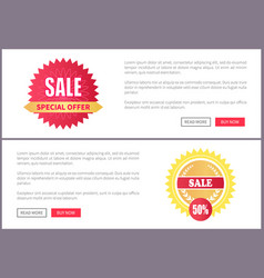 Sale special offer pages set labels laurel branche vector