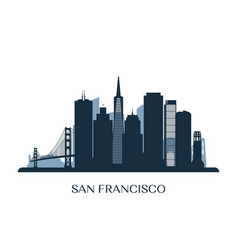 San francisco skyline monochrome silhouette vector