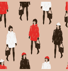 Seamless pattern of fashionable women in the fur vector