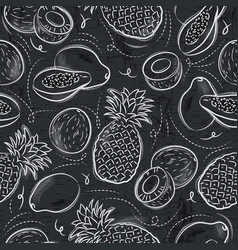 seamless patterns with papaya coconut vector image