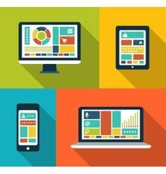 Set modern flat design gadget icons vector
